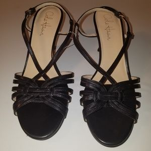 COLE HAAN NikeAir Leather Strappy Black Sexy shoes